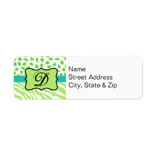 Green, White & Teal Zebra & Cheetah Personalized Label