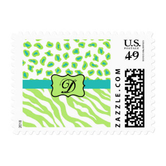 Green, White & Teal Zebra & Cheetah Personalized Postage