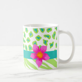 Green, White & Teal Zebra & Cheetah Pink Flower Coffee Mug