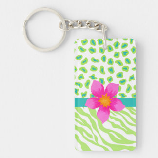 Green, White & Teal Zebra & Cheetah Pink Flower Double-Sided Rectangular Acrylic Keychain