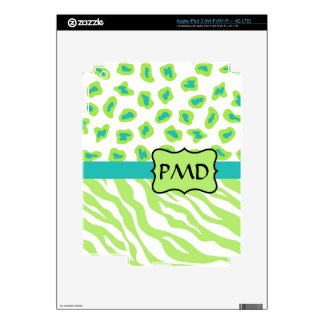 Green, White & Teal Zebra & Cheetah Skin Monogram iPad 3 Decals