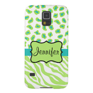 Green White Teal Zebra Leopard Name Personalized Cases For Galaxy S5
