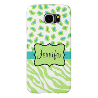 Green White Teal Zebra Leopard Name Personalized Samsung Galaxy S6 Case