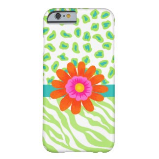 Green, White Teal Zebra Leopard Skin Orange Flower Barely There iPhone 6 Case
