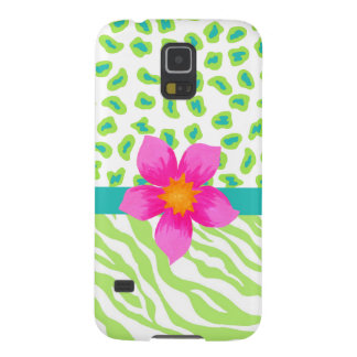 Green, White Teal Zebra Leopard Skin Pink Flower Galaxy S5 Cover