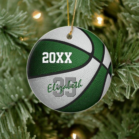 green white team colors basketball memento ceramic ornament