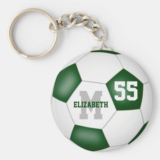 green white team colors girls boys soccer ball keychain