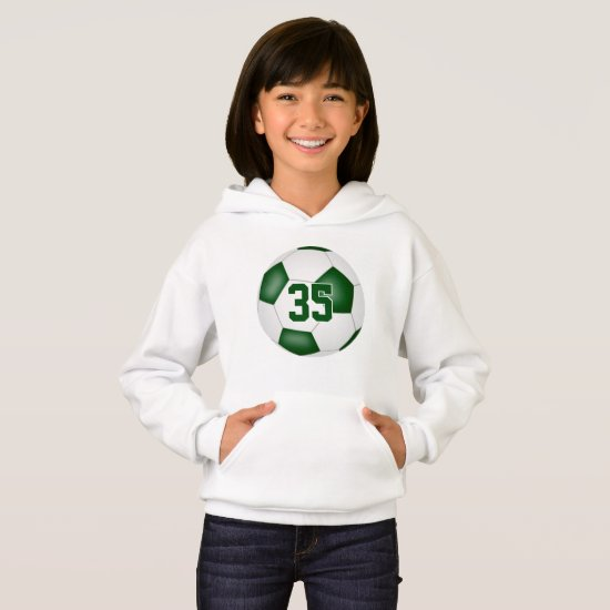 green white team colors jersey number soccer hoodie