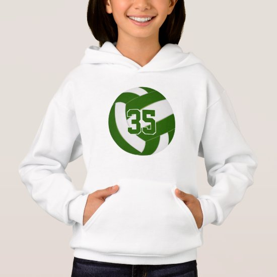 green white team colors jersey number volleyball hoodie