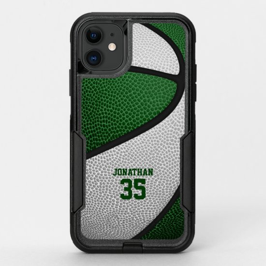 green white team colors personalized basketball OtterBox commuter iPhone 11 case