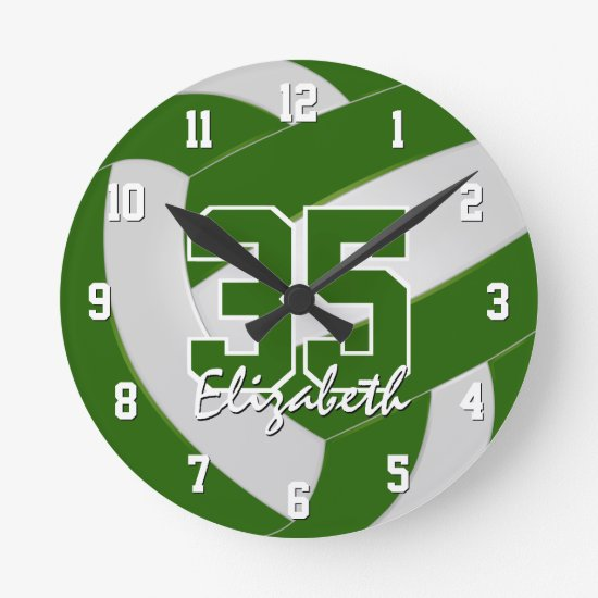green white team colors players name volleyball round clock