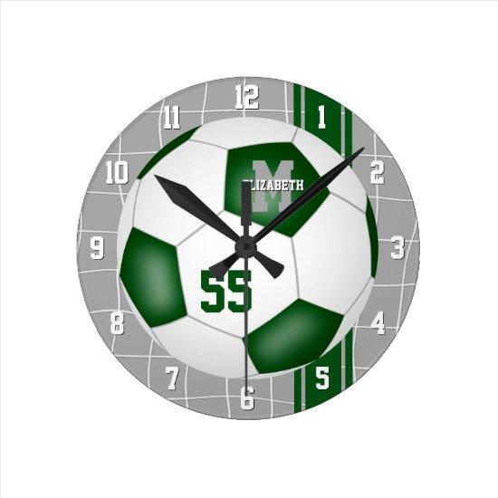 green white team colors varsity stripes soccer round clock