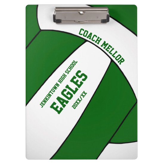 green white team colors volleyball coach clipboard