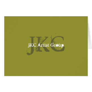 Green White Three Monogram Business Logo Notecards Card