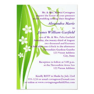 "Green, White, Tropical Flowers Wedding Invitation 5"" X 7"" Invitation Card"