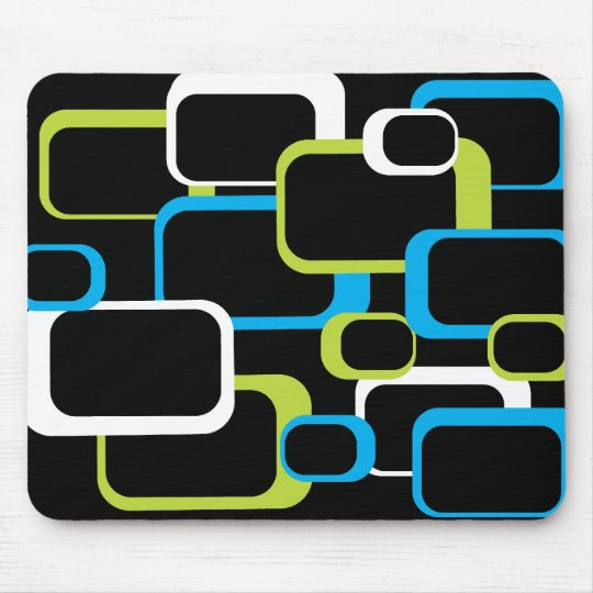Green White Turquoise Blue Retro Squares Black Mouse Pad