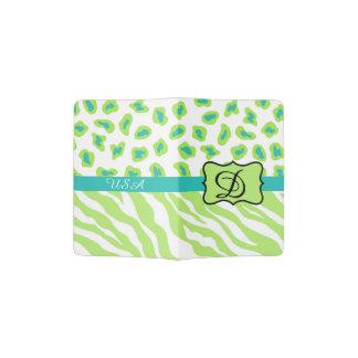 Green White Turquoise Leopard Zebra Skin Monogram Passport Holder