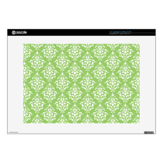 "Green White Vintage Damask Pattern 1 15"" Laptop Skins"