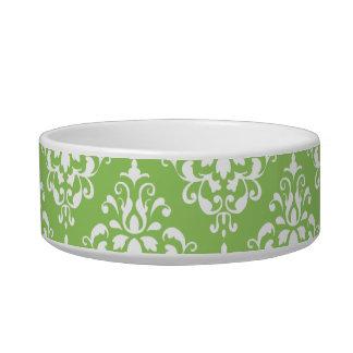 Green White Vintage Damask Pattern 1 Bowl