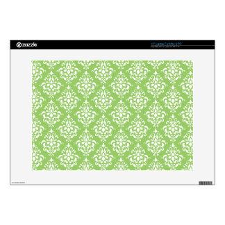 """Green White Vintage Damask Pattern 1 15"""" Laptop Skins"""