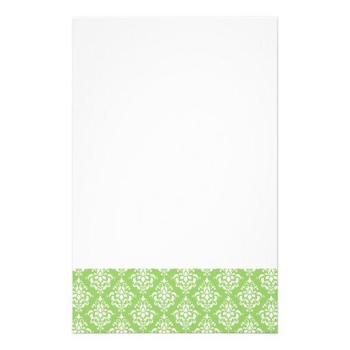 Green White Vintage Damask Pattern 1 Customized Stationery