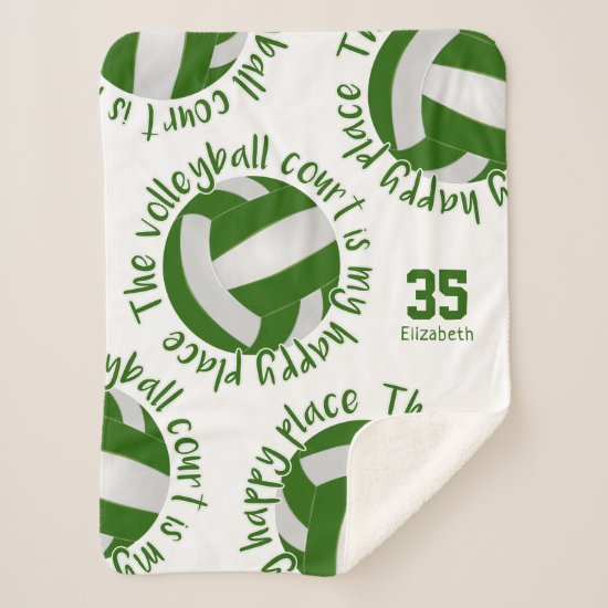 green white volleyball court happy place sherpa blanket
