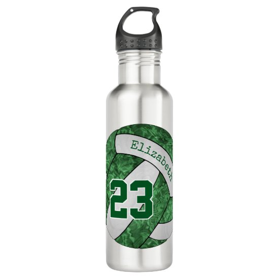 green white volleyball girls' custom team colors stainless steel water bottle