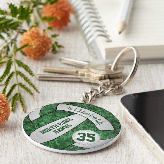 green white volleyball keychain w school team name