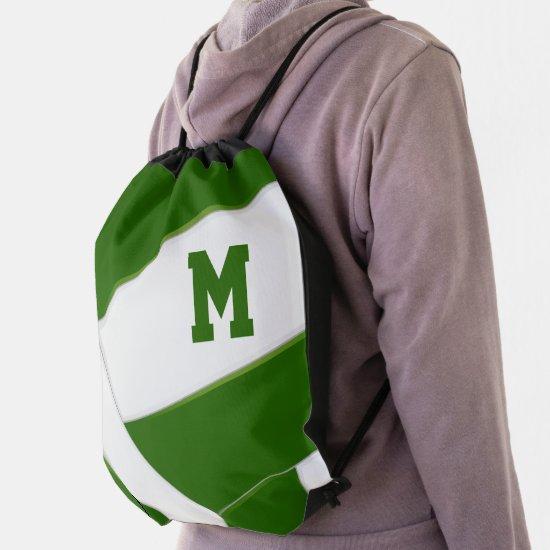 green white volleyball team colors boys girls drawstring bag
