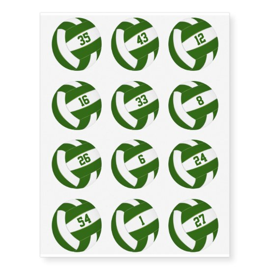 green white volleyballs w jersey numbers set of 12 temporary tattoos