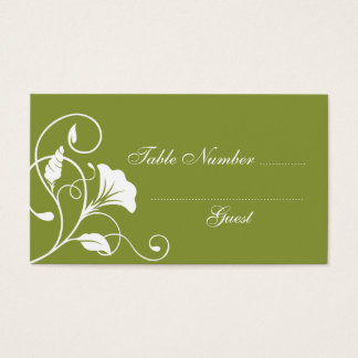 Green & White Wedding Table Assignment Place Cards