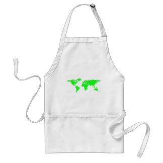 Green White World Map Adult Apron