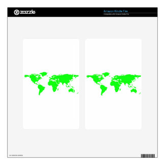 Green White World Map Kindle Fire Decals
