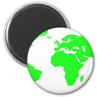 Green White World Map Magnet