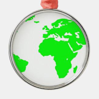 Green White World Map Metal Ornament