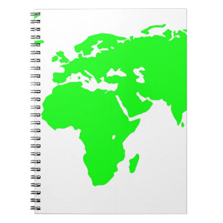 Green White World Map Spiral Notebook