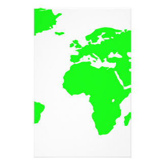 Green White World Map Stationery