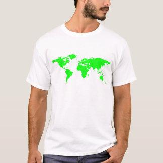Green White World Map T-Shirt
