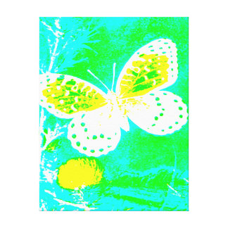 GREEN, WHITE YELLOW, TEAL REGAL FRITILLARY STRETCHED CANVAS PRINTS