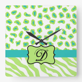 Green White Zebra Leopard Skin Monogram Initial Square Wall Clock