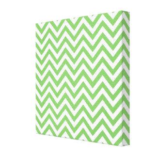 Green & White Zigzag Pattern Canvas Print