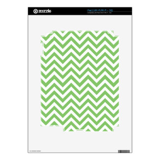 Green & White Zigzag Pattern Skins For iPad 2