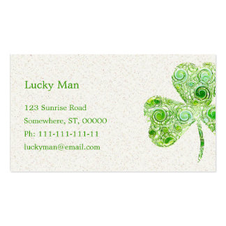 Green Whymsical Lucky Double-Sided Standard Business Cards (Pack Of 100)