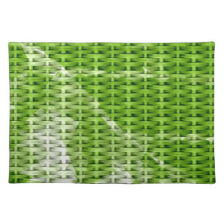 Green wicker graphic design cloth placemat