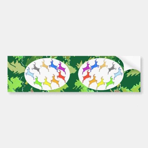 Green Wild Jungle n Deer Roaming Bumper Sticker