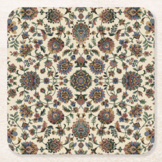 Green Wildflowers Tapestry spiral frame Square Paper Coaster