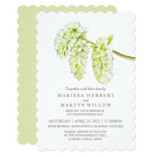 Green willow catkin watercolor wedding invitations