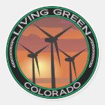 Green Wind Colorado Round Stickers