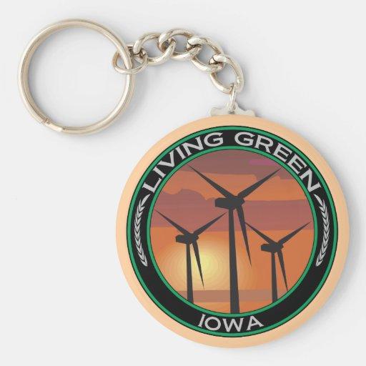 Green Wind Iowa Keychain