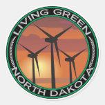Green Wind North Dakota Classic Round Sticker